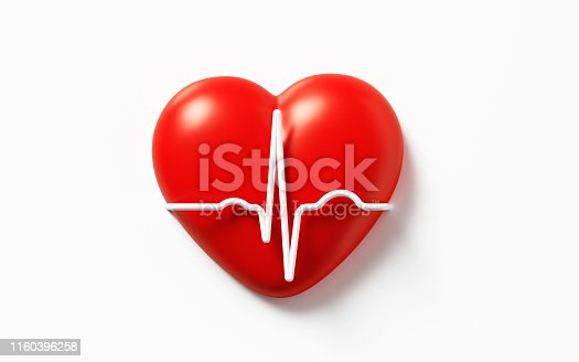 White EKG line over red heart on white background. Horizontal composition with copy space.