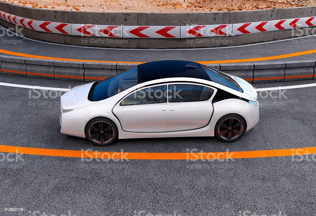 White electric car on highway stock photo