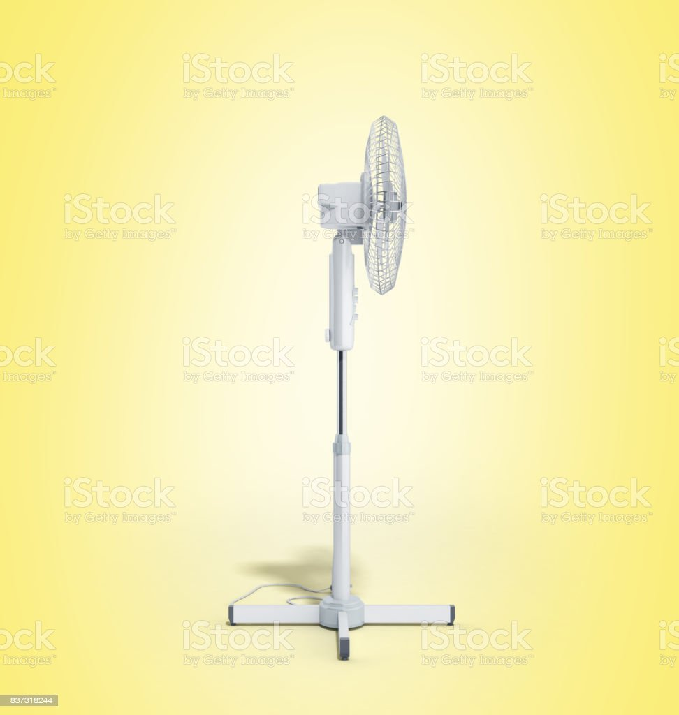 white electric fan 3d render on white background stock photo