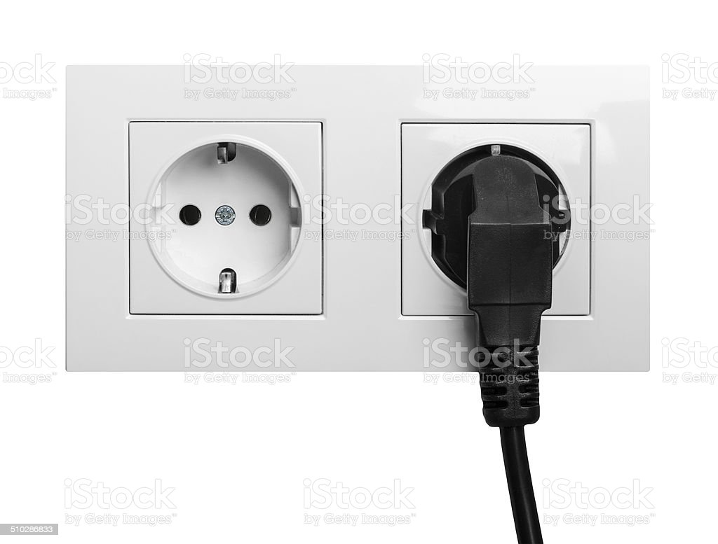 white electric socket stock photo