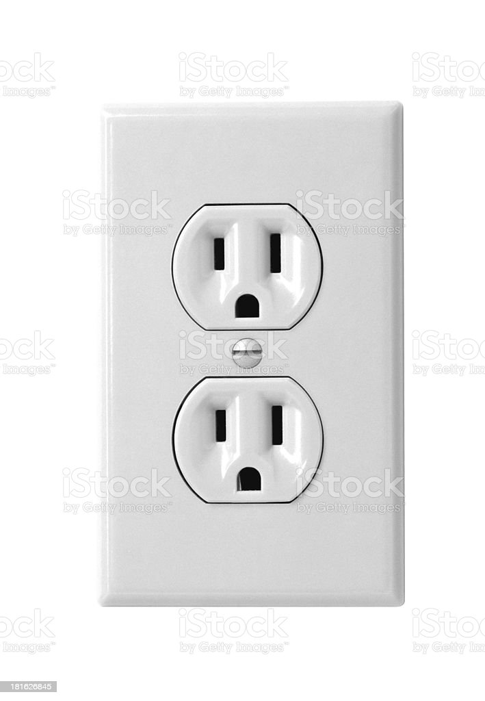 white electric wall outlet receptacle stock photo