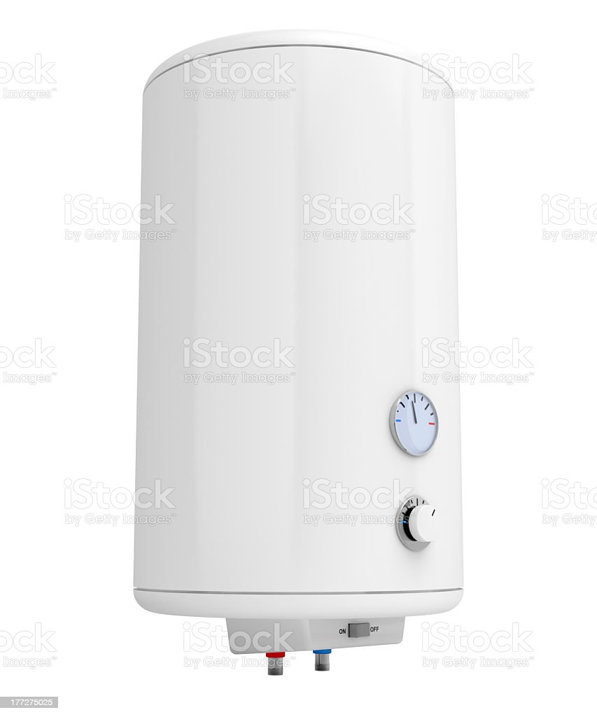 A white electric water heater on a white background royalty-free stock photo