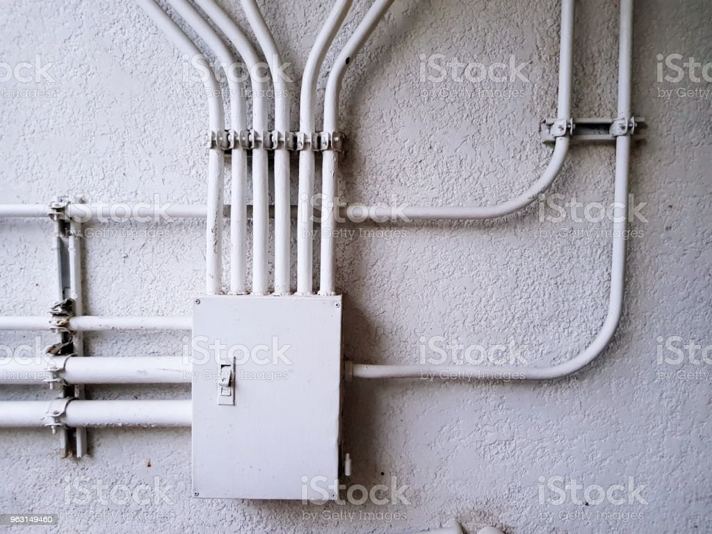 White Electrical Control Junction Box For Distribution Power Line On Home Wiring The Concrete Wall With Copy