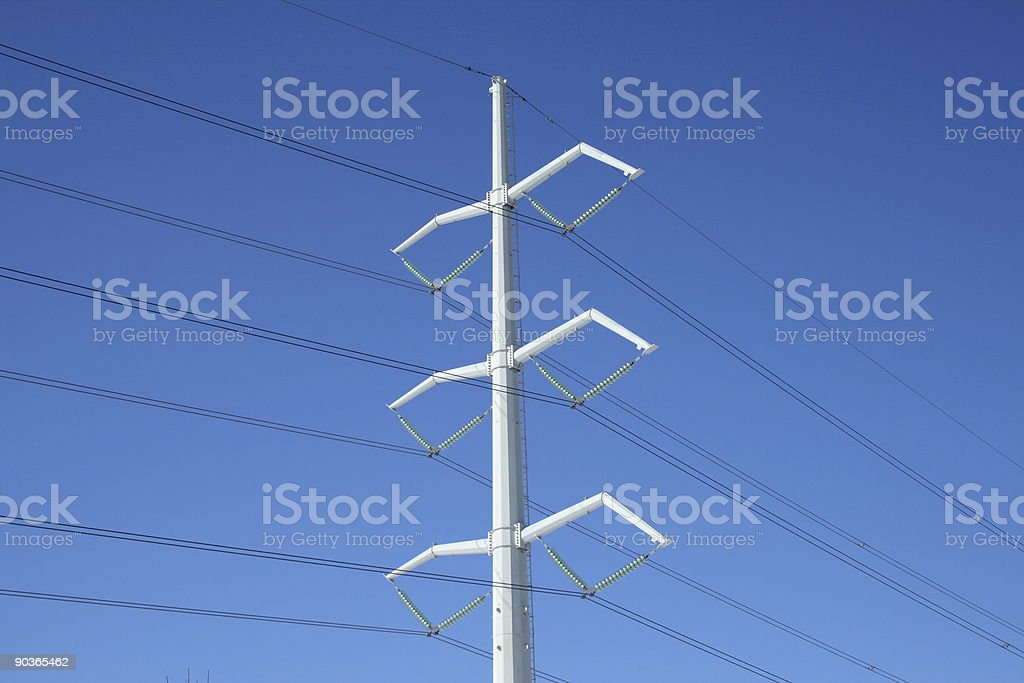 White electricity pylon and power lines royalty-free stock photo