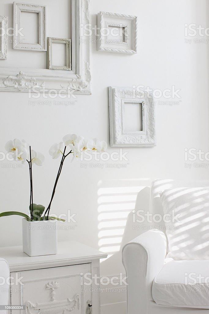 White, elegant armchair in living room stock photo