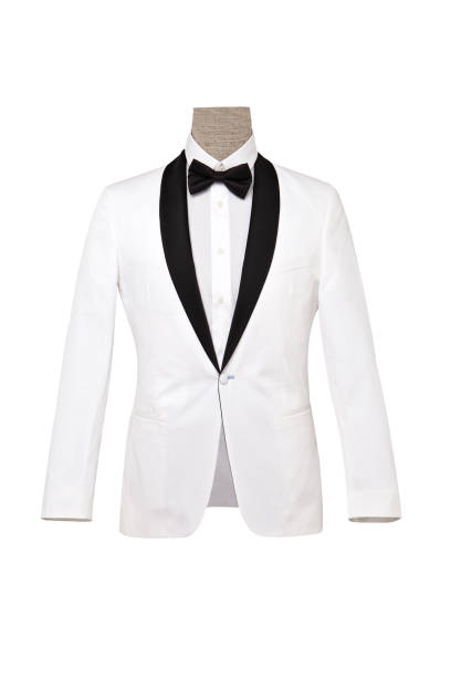 white elegant suit - tuxedo stock photos and pictures