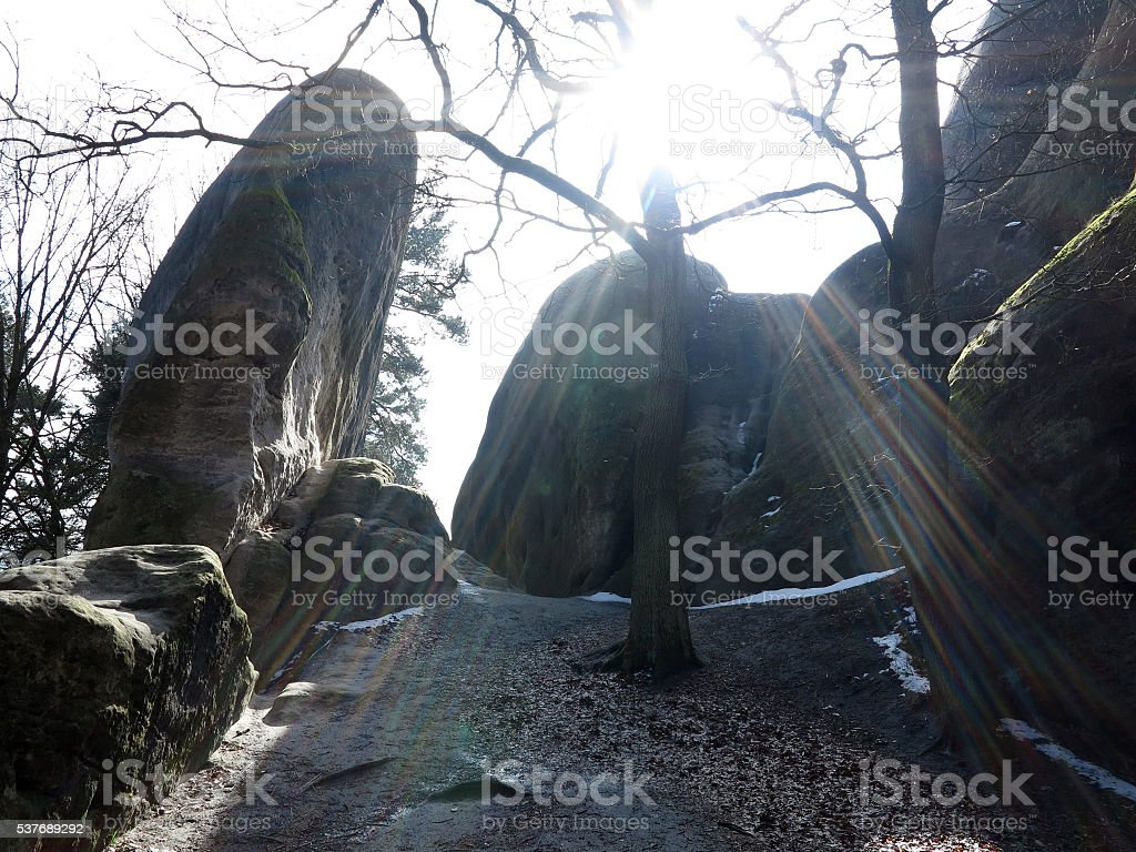 White Elephant Rocks in backlight stock photo