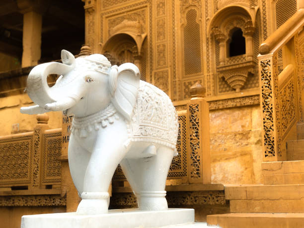 white elephant statue - jaisalmer fort - gettyimages foto e immagini stock