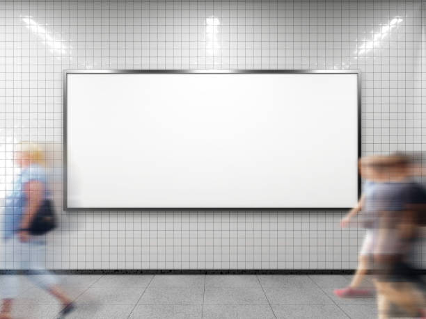 White empty billboard. Blank horizontal big poster in public place. Billboard mockup on subway station. 3D rendering. billboard stock pictures, royalty-free photos & images
