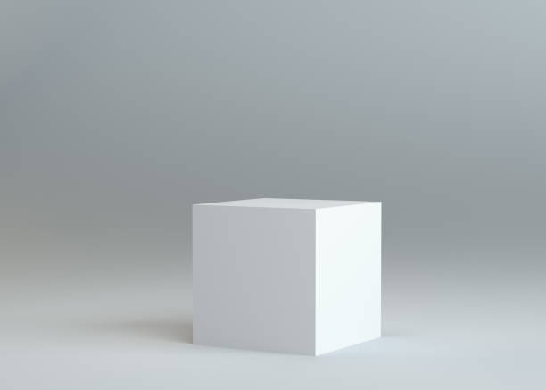 white empty box on gray background - cube shape stock pictures, royalty-free photos & images