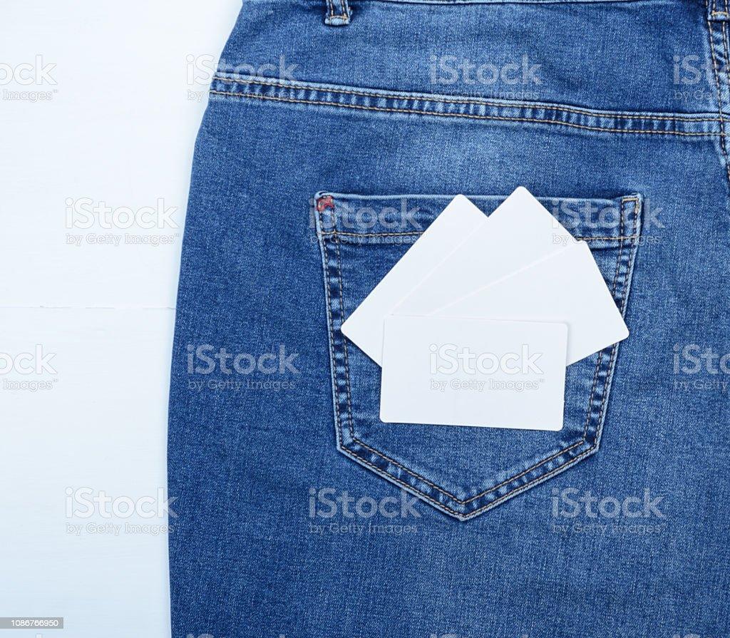Weiße Leere Visitenkarten Auf Der Hinteren Tasche Blue Jeans