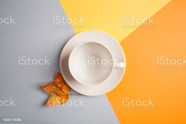 White empty coffee cup and maple leaf on bright yelloworangebeigegray picture id1020115230?b=1&k=6&m=1020115230&s=612x612&h= vosg8ysqhhstpfuyqwujsc6esssivkahh2ixl4klmw=