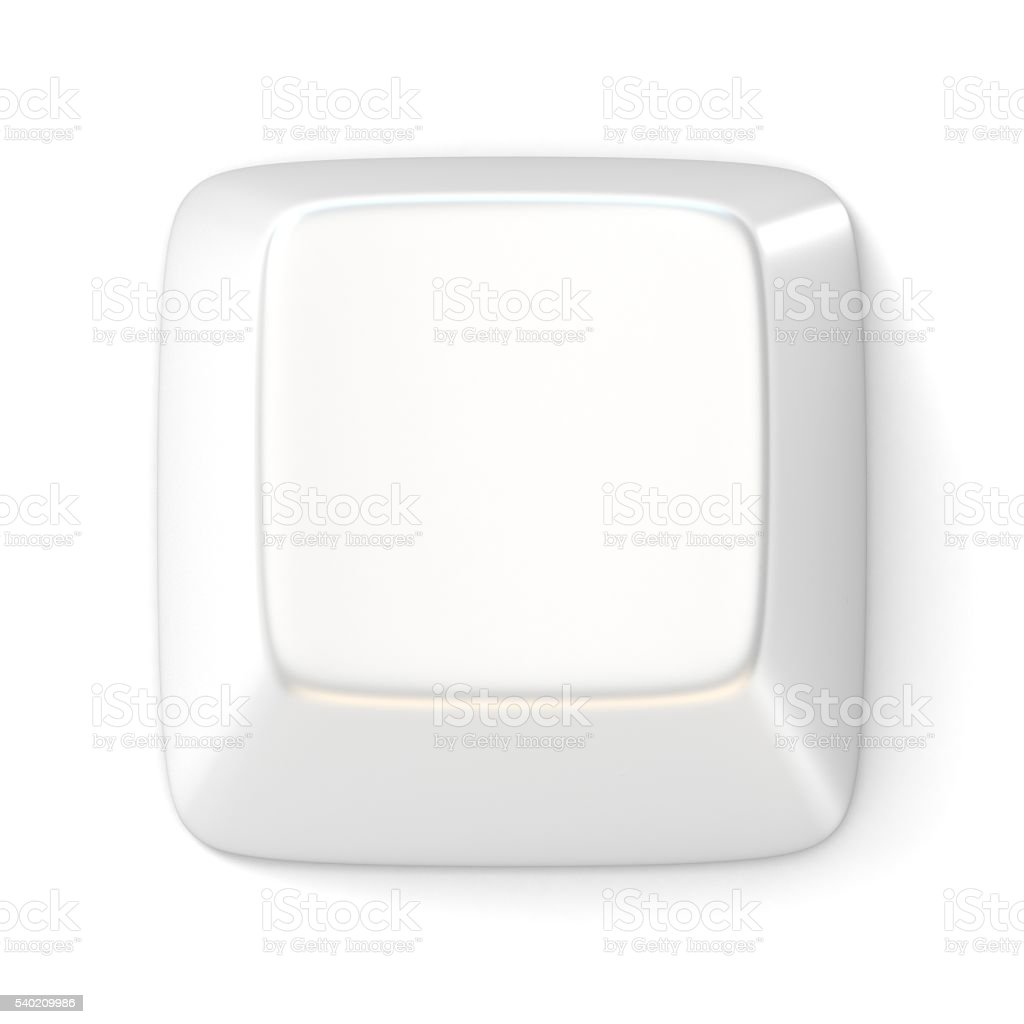 White empty computer key. Top view. 3D stock photo