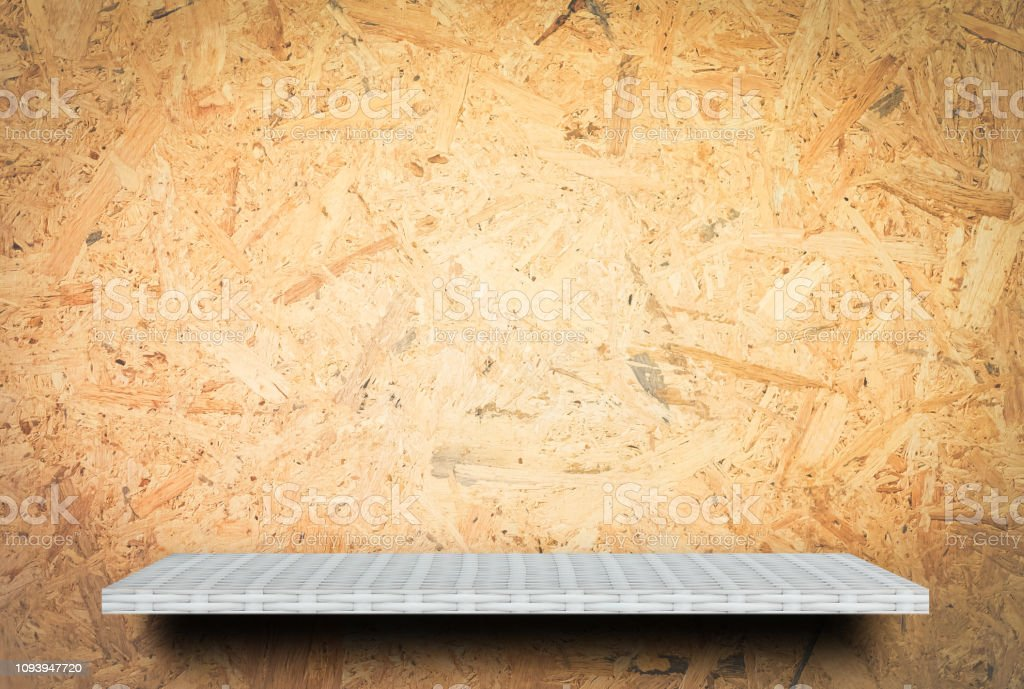 White Empty counter shelf on wooden background for product display