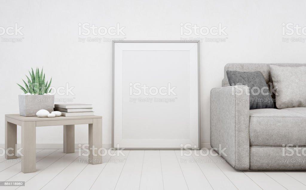 Weißen leeren rahmen mockup auf holzboden mit betonmauer hintergrund