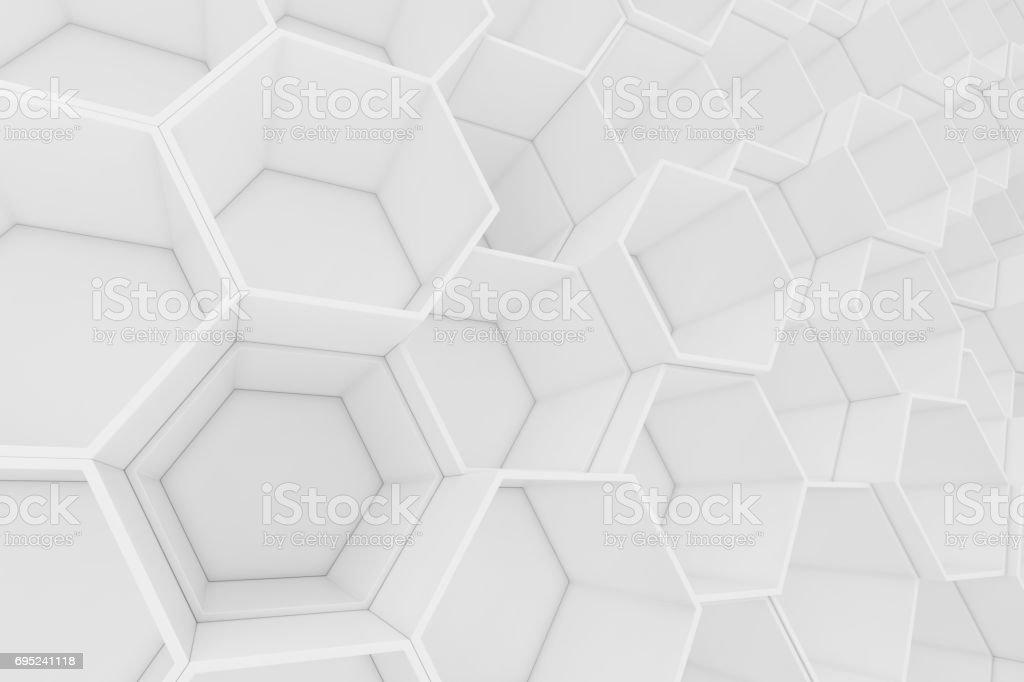 Abstrait blanc vide géométrique hexagonal en nid d'abeille, 3D rendering - Photo