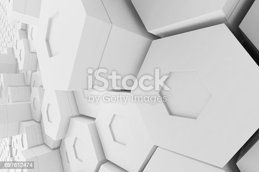 626187518istockphoto White empty geometric hexagonal honeycomb abstract background, 3D rendering 697612474