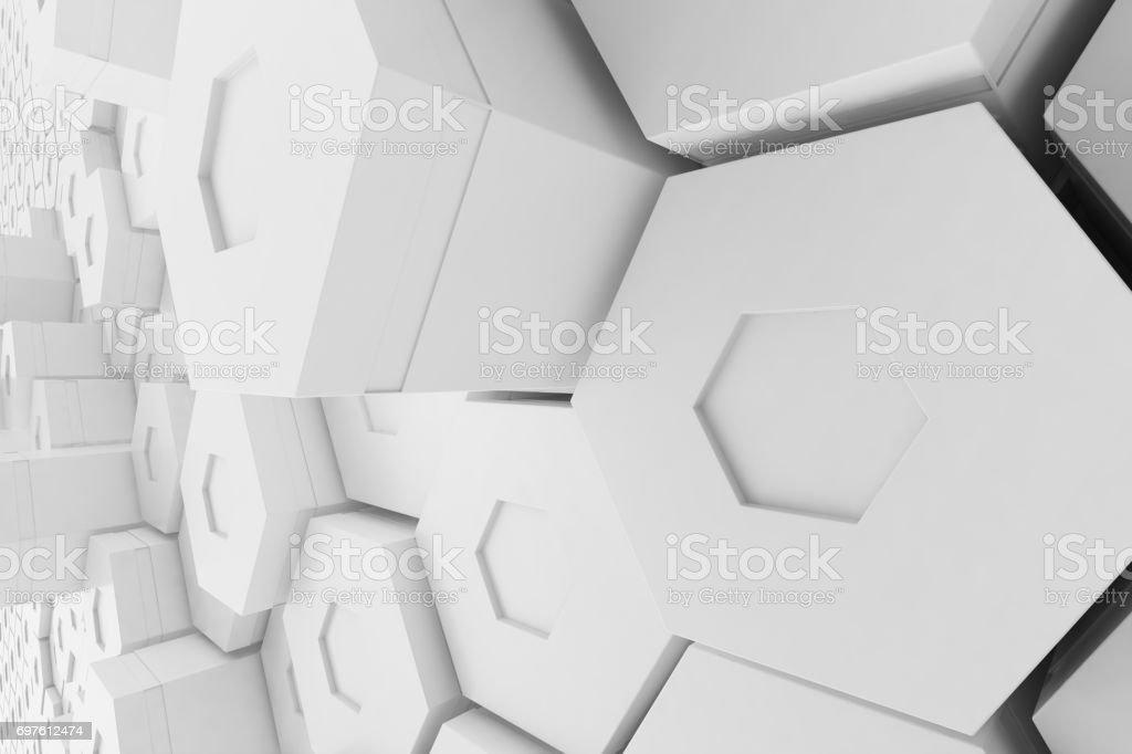 White empty geometric hexagonal honeycomb abstract background, 3D rendering stock photo