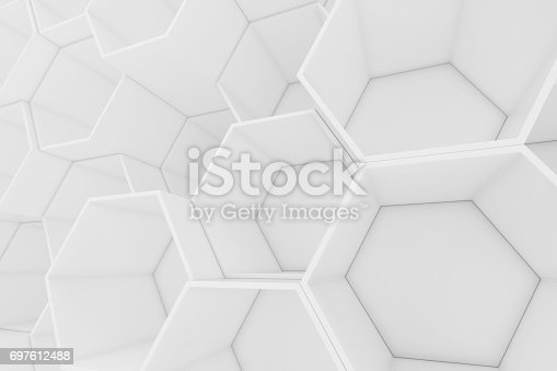 626187518istockphoto White empty geometric hexagonal honeycomb abstract background, 3D rendering 697612488