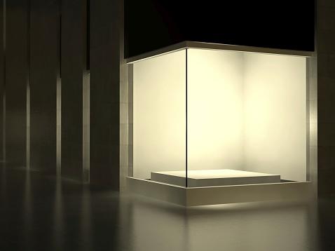 White Empty glass showcase, exhibition space on street