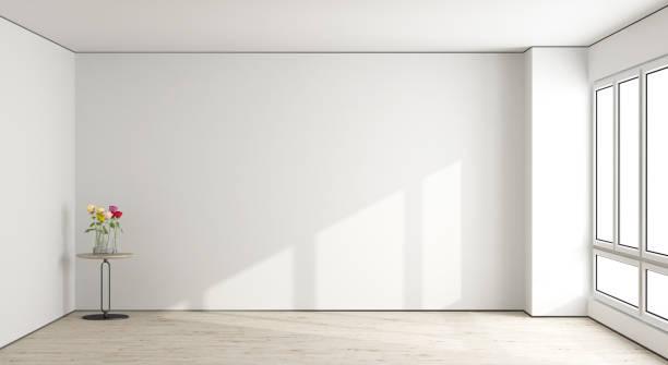 weißen leeren wohnzimmer - hellrosa zimmer stock-fotos und bilder