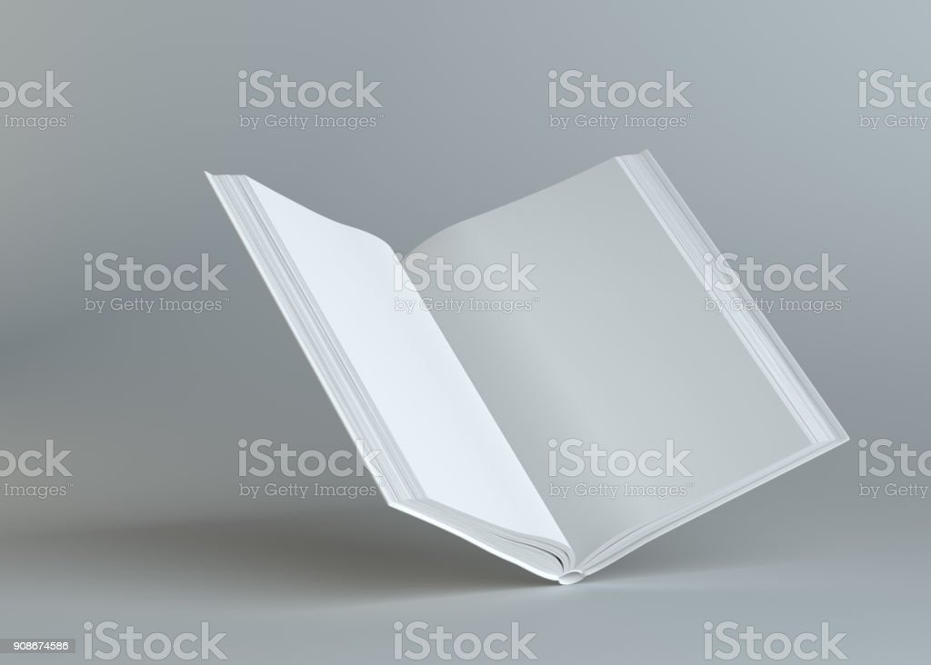 White empty open book on gray background stock photo