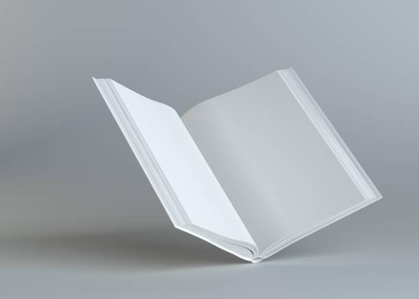 灰色背景下的空白打開的書 - book open 個照片及圖片檔