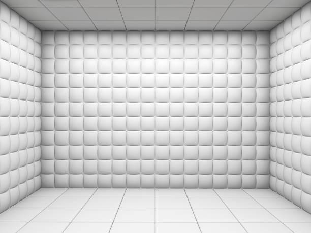 matelassé blanc chambre vide - hopital psychiatrique photos et images de collection