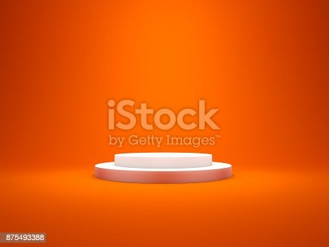 istock White empty pedestal with lights isolated on red bakcground 875493388