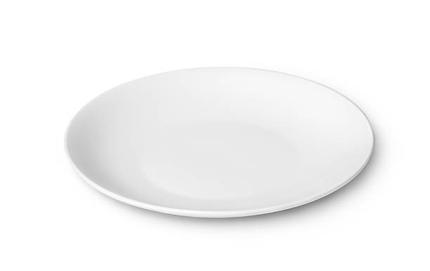 white empty plate isolated on white background - plate stock pictures, royalty-free photos & images