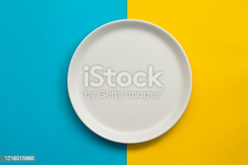 white empty plate on color background, top view