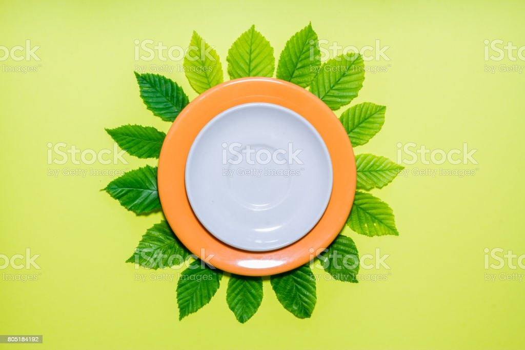 White empty plate with floral background stock photo