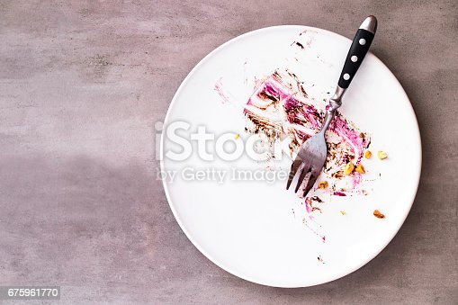istock White empty plate with piece of cake leftovers 675961770