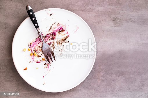 istock White empty plate with piece of cake leftovers 691934270