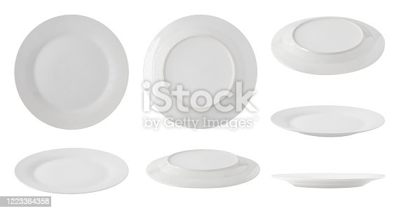 Set of top, side and back views of white empty plates isolated on white background