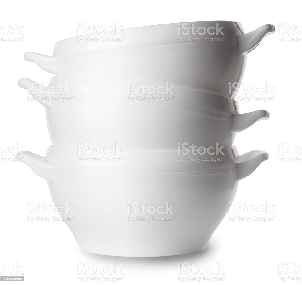 white empty porcelain soup plates isolated on white stock photo