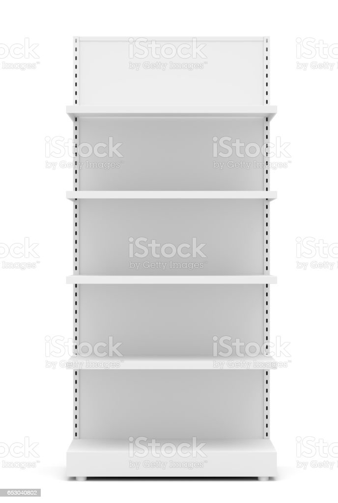 White Empty Retail Shelves stock photo