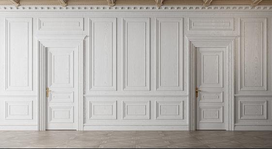 White empty room. Classic interior design. 3d illustration
