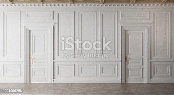 istock White empty room. Classic interior design. 1221955256