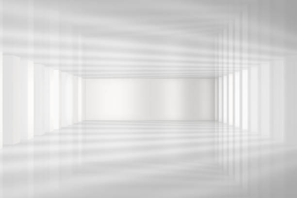 3D White Empty Room Interior 3D Render Empty Room Interior, Built Structure with lights and shadows. domestic room stock pictures, royalty-free photos & images