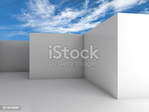istock White empty room interior under cloudy blue sky 524649567