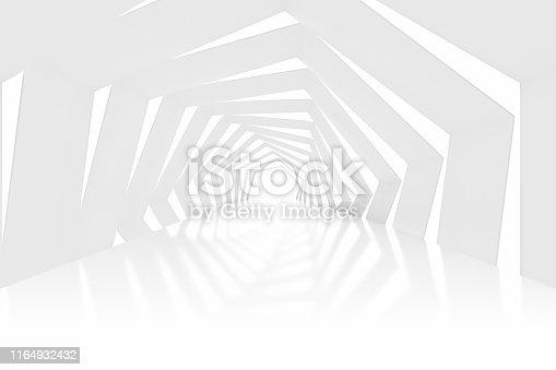 istock 3D White Empty Room, Tunnel, Corridor  Interior 1164932432
