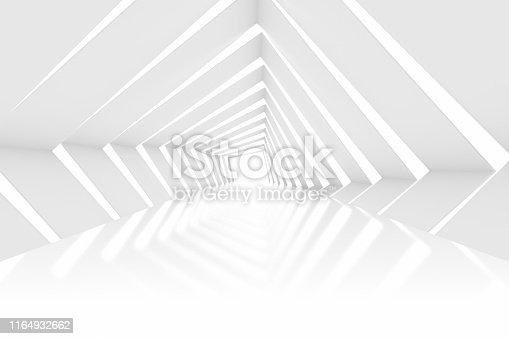 470731180istockphoto 3D White Empty Room, Tunnel, Corridor  Interior 1164932662