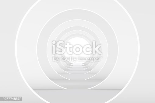 694008266istockphoto 3D White Empty Room, Tunnel Interior 1077748572