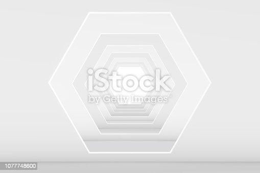 istock 3D White Empty Room, Tunnel Interior 1077748600