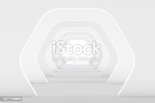 470731180istockphoto 3D White Empty Room, Tunnel Interior 1077748634