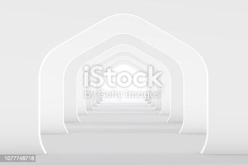 istock 3D White Empty Room, Tunnel Interior 1077748718