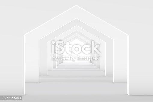 istock 3D White Empty Room, Tunnel Interior 1077748794
