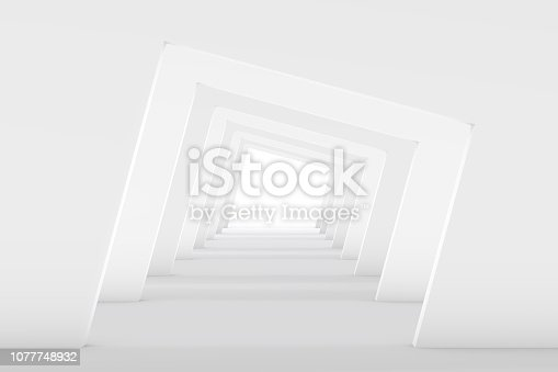 694008266istockphoto 3D White Empty Room, Tunnel Interior 1077748932