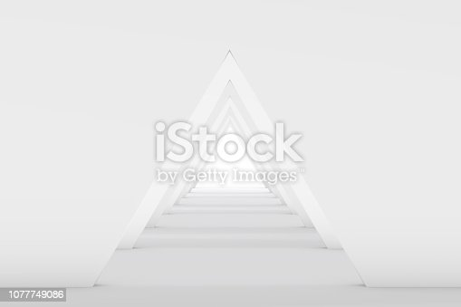 694008266istockphoto 3D White Empty Room, Tunnel Interior 1077749086